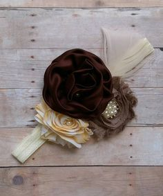Brown, Yellow and Cream Silk and Shabby Flower Headband With Feather and Pearl accents