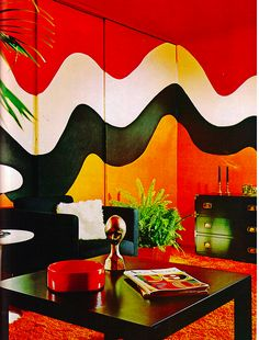 interior design the colours links to 70s also the way its looks