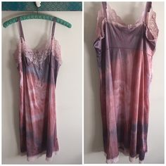 """Vintage Hand Dyed BOHO Slip Dress I hand select each slip according to style, length & feminine detail. Each receives a unique dye bath, some receive multiple baths to obtain varied pigmented colors. This process seals the nylon fibers & allows for deeper color in some spots. This is done purposefully to create a piece of wearable art. Because my slips vary in vintage ware no two are alike and are sold as is. Chest 40"""" Waist 36"""" Length 32"""". One of the straps is missing plastic adjuster but…"""