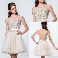 Graduation Sheer Crew Neck Short Cocktail Dresses 2015 Beaded Tulle Sleeveless Knee Length A-line Illusion Backless Homecoming Party Dress Online with $99.24/Piece on Marrysa's Store | DHgate.com