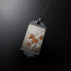 The moon and the leaves Keum Boo silver picture pendant by KAZNESQ