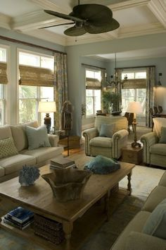 Family Room neutrals- light blue walls with neutral furniture and accents