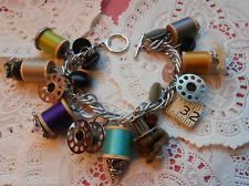 OOAK Artisan Handmade Vtg Retro Wood Sewing Spool Bobbins Cha Cha Charm Bracelet