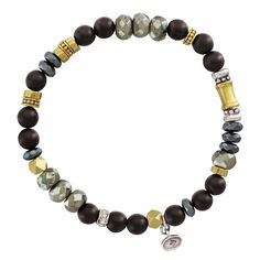 """Silpada 'Sightseer' Sterling Silver, Brass, Agate, and Swarovski Crystal Bracelet, 6.75"""". Take your style on an adventure with this black, gray, and gold-colored Sightseer Bracelet, which features fun-shaped beads on a stretchy strand making this bracelet simple enough to wear with a white tee and denim yet versatile enough to throw on with a black maxi skirt and button-down shirt. MIX OF CULTURE: Mixing metals, materials, tones, and textures allow for jewelry to tell a story. This beaded..."""