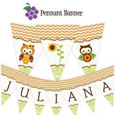 Automne Owl Pennant Banner - Chevron Orange, vert Damas, automne tournesol hibou personnalisé anniversaire bannière Party - un fichier imprimable numérique