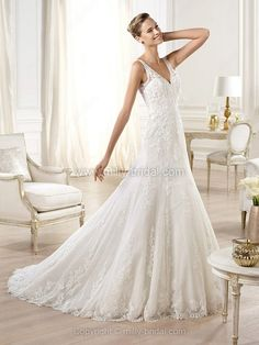 """Don't know if the """"straps"""" could come off.... A-line V-neck Lace Tulle Court Train Buttons Wedding Dresses -$279.79"""
