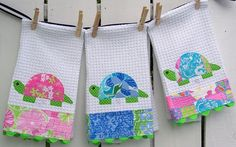 Turtle Tea Towel Lilly Pulitzer fabric by hickitypickity on Etsy, $24.00