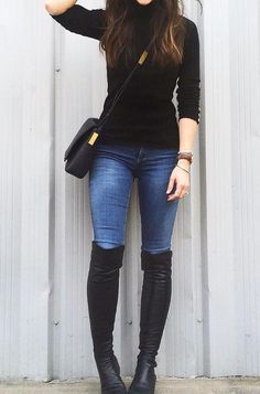 Style Spacez: 35 Sweater Winter Fashion Outfit Ideas to Copy Schwarzer Pullover Casual Winter Outfits, Winter Fashion Outfits, Classy Outfits, Stylish Outfits, Fall Outfits, Autumn Fashion, Fashion Clothes, Casual Black Dress Outfit, Black Knee High Boots Outfit