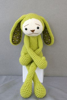Love the colour of this gorgeous sad rabbit and the fabric inside the ears!