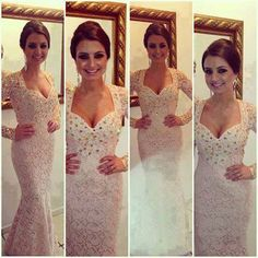 2014 New Sexy Prom Dresses Sweetheart White Beading Crystals Lace Mermaid Floor Length Long Sleeves Evening Gowns