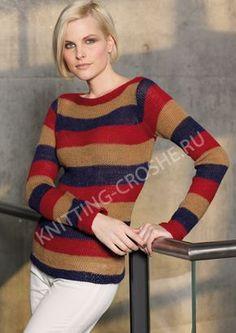 Вязаный женский джемпер в полоску Ethnic Fashion, Striped Knit, Baby Knitting, Hello Kitty, Men Sweater, Winter, Clothes, Color, Women