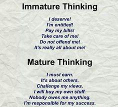 Immaturity vs maturity