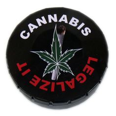 'Cannabis... Legalize It' Pop Tin. Buy a Pop Tin because: Its size and shape make it a handy place to store your herbs, especially good for when you're on the move; The lid has been cleverly designed so you can open it one handed, with just a press it clicks open and with a squeeze of the sides it snaps shut securely; It looks cool and there are loads of wicked head-case designs to collect.