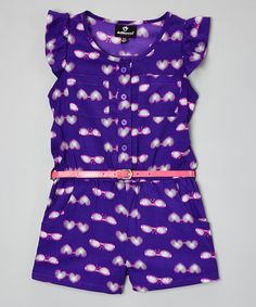 Another great find on #zulily! Purple Sunglasses Belted Jumpsuit- Toddler & Girls #zulilyfinds