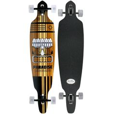 PARADISE Tiki Face 2.0 Drop Pin Complete Longboard. Drop pin shape. Tiki face 2.0 graphics. Arrives assembled and ready to ride.