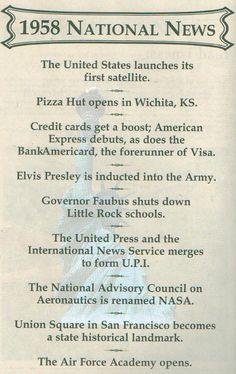 1958 National News.... Pizza Hut opens in Wichita, KS