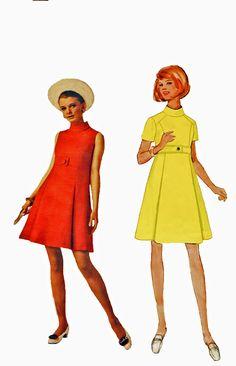 Butterick 5059 1960s Misses Dress Sewing Pattern Jean Muir A Line High Collar Dress