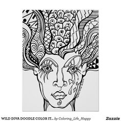 WILD DIVA DOODLE COLOR IT YOURSELF POSTER, 18X24 POSTER