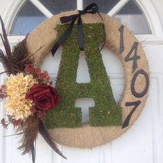Burlap monogram wreath, I like the house number on it