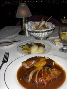 DUCK ALA RONGE IN THE GOURMET ROOM AT THE RIVERSIDE CASINO LAUGHLIN NV.  EXCELLENT!