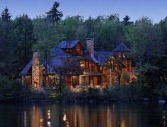 Mansion next to a forest lake