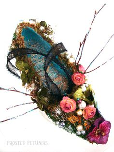 Frosted Petunias: woodland fairy queen altered shoe