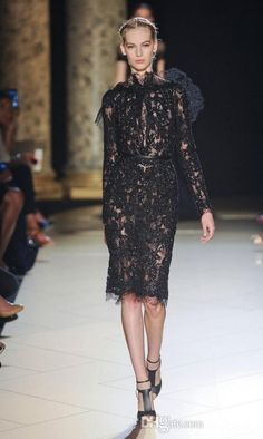 Free shipping, $139.19/Piece:buy wholesale 2014 Elie Saab Short Prom Homecoming Dresses High Neck Long Sleeve Black Lace Knee Length Beads Column Sheath Celebrity Cocktail Gowns LX from DHgate.com,get worldwide delivery and buyer protection service.