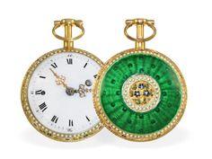 Taschenuhr: außergewöhnlich schöne Gold/Emaille-Spindeluhr mit Repetition á toc, Charles Theodor