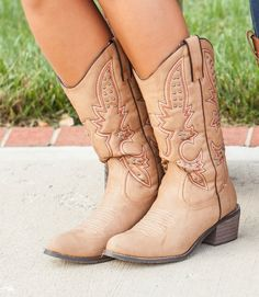The Pink Lily Boutique - Light Embellished Cowboy Boots, $50.00