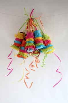 Piñata garland for Cinco de Mayo.  Each makes a cute favor.