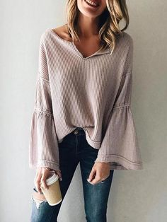European And American Style V Neck Long Sleeve Pure Colour Sweater - Outfits Mode Outfits, Fall Outfits, Casual Outfits, Fashion Outfits, Fashion Trends, Womens Fashion, Dinner Outfits, Casual Dressy, Casual Dinner
