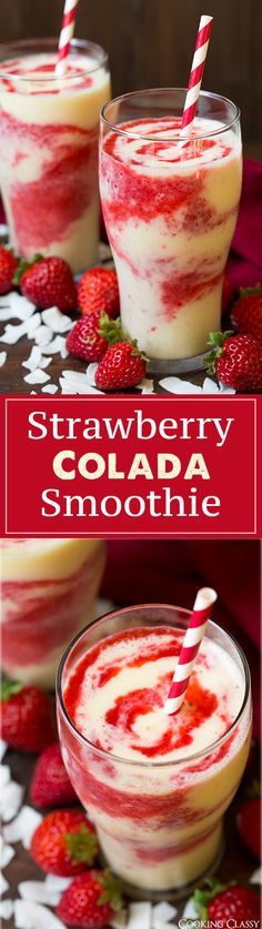 Strawberry Colada Smoothie – These are so refreshing on a hot summer day! Love the strawberry coconut flavor combo! Strawberry Colada Smoothie – These are so refreshing on a hot summer day! Love the strawberry coconut flavor combo! Yummy Smoothies, Smoothie Drinks, Energy Smoothie Recipes, Pineapple Smoothie Recipes, Freezer Smoothies, Homemade Smoothies, Smoothie Packs, Protein Smoothies, Breakfast Smoothies