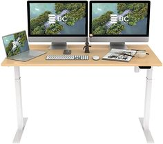"""Amazon.com: ALFABC Electric Standing Desk, 60 x 30 Inch Height Adjustable Sit Stand Desk for Home Office, Whole Piece Tabletop, Quick Install Workstation Stand up Desk (White Frame + Maple Tabletop, 60""""x30""""): Home & Kitchen Home Desk, Home Office Desks, Electric Standing Desk, Sit Stand Desk, White Desks, Home Kitchens, Tabletop, Ikea, Amazon"""