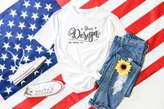 Tshirt Bella Canvas Mockup Shirt Flatlay Gildan Family Blue Shirt Shirt Mockup Independence Day Next Level of July Mockup Flag Flat Lay Inspiration, Complete Image, Base Image, Flatlay Styling, Shirt Mockup, Bella Canvas, Independence Day, Shirt Designs, Baby Art