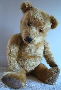 Vintage old Chiltern Hugmee mohair teddy bear, rexine pads, 20'' 1940-1950s | eBay