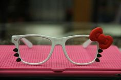 Damn It, Becky!  I cannot stop finding HK items for you <3  Hello Kitty Red Bow Glasses nerdy wayfarer by mypreciousmini, $21.99