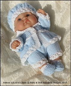 Victorian Style Set 10 inch & 14 inch Lots to Love Berenguer doll Knitting Dolls Clothes, Baby Doll Clothes, Doll Clothes Patterns, Doll Patterns, Baby Dolls, Clothing Patterns, Baby Knitting Patterns, Knitting Designs, Free Knitting