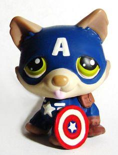 Littlest Pet Shop Avengers Captain America Dog Superhero Custom Figure LPS OOAK  #Hasbro