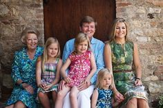 Then Queen Beatrix posing with her son Willem-Alexander, his wife Maxima and three granddaughters Catharina-Amalia, Alexia and Ariana