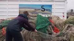 Deze visnetten zullen zeehonden niet meer in de problemen brengen! Ze worden opgehaald en gerecycled tot Happy seal kleding.