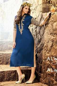 Tempting Navy Blue Color Georgette #Kurti to buy.