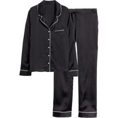 H&M Satin pyjamas (275 EGP) ❤ liked on Polyvore featuring intimates, sleepwear, pajamas, black, lingerie, nightwear, pj tops, h&m pyjamas, satin pajamas and satin pjs