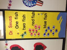 "Dr. Seuss ""One Fish, Two Fish, Red Fish, Blue Fish"" door decoration."