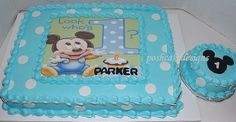 Baby mickey mouse cake - blue white mickey mouse, mickeys first birthday, first birthday idea, sheetcake, mickey birthday cake, mickey mouse smash cake. Entirely edible by poshcakedesigns - proudly serving Birmingham Al and surrounding cities. Visit us online at poshakedesigns.com
