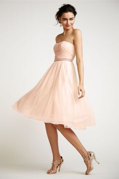 strapless pink bridesmaids dress from @BHLDN