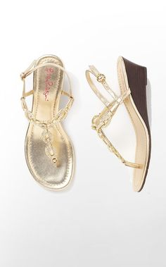 Lilly Pulitzer Summer '13- Newport Wedge in Gold Metallic $218