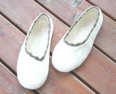 Felted Slippers ECO Light Natural Wool colour Handmade by kadabros, $68.00