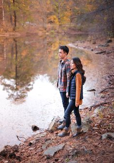 fall outdoors engagement couple photos // his and hers outfit ideas