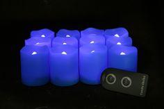 EcoGecko Unilution Flameless LED Votive Candles, Blue, Set of 12 Blue Candles, Votive Candles, Glow Bracelets, Glow Sticks, Burning Candle, Remote, Wax, Wedding, Ideas