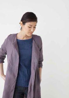 Crick & Watson - Simonne No Collar Coat Denim Button Up, Button Up Shirts, Coat, Sweaters, Jackets, Fashion, Down Jackets, Moda, Sewing Coat